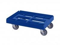 Verrijdbaar kunststof onderstel 600x400mm - blauw - gegalv. gaffels 52.TR6040.4.H