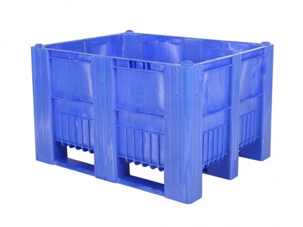 Kunststof palletbox - 1200x1000xH740mm - 3 sledes - blauw