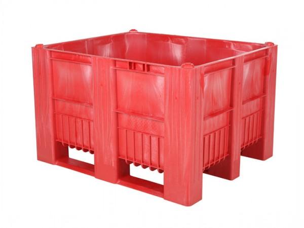 Kunststof palletbox - 1200x1000xH740mm - 3 sledes - rood