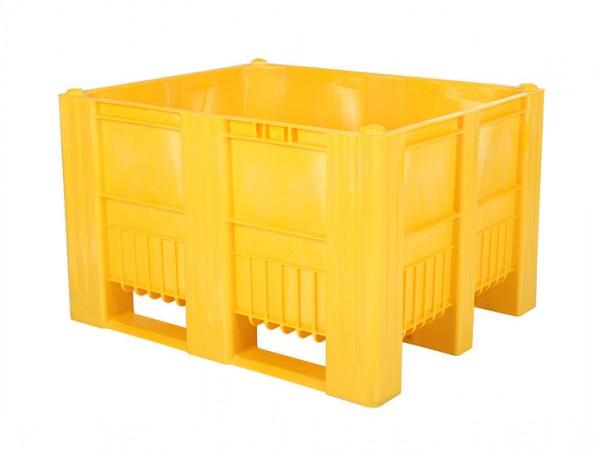 Kunststof palletbox - 1200x1000xH740mm - 3 sledes - geel